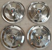 1963-1964 Ford Galaxie 406 427 Hubcaps Set Of Oem 15 Spinner Full Wheel Covers