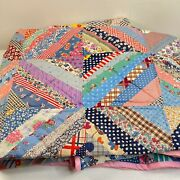 Vintage Quilt Handmade Twin Hand Sewn 67x85 Multicolored Pink Floral Polka Dot