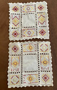 Vintage Handmade Set 2 Red And Yellow Embroidered Stitch Off White Linen Doilies