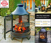 Outdoors Steel Garden Cooking Fire Pit Grill Bbq Barbecue Chimenea + Swing Iron1