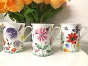 Stechcol Gracie Bone China Easter Floral Insects Flowers Coffee Mugs Tea Cup Set