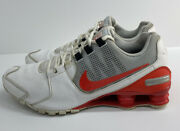 Nike Mens Shox Avenue Ltr Leather Running Shoes White Red 833584-103 Size 12