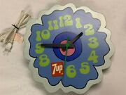 Vintage 1970s 7-up 7up Wall Clock Peter Max Design Blue Groovy Flower W3