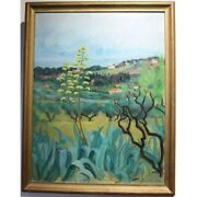 Vintage 20th Oil On Canvas Paintingseaside In Cassis Signed E. Metein-gilliard