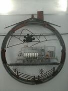 Hand Crafted Recycled Metal Art Railroad Locomotive Diorama -the Round House