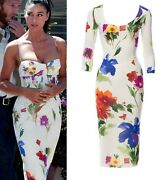 50 Off Sale Dolce And Gabbana Runway Crepe Silk Dress Size 42-46