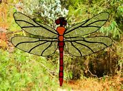 Spirit Dragonfly Huge Hand Crafted Stained Glass Suncatcher Amber Red Crystal