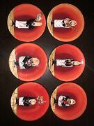 Set Of 6 Certified Intand039l Dinner Is Served Tracy Flickinger 6.5 Appetizer Plates