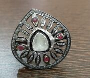 925 Sterling Silver Rose Cut Diamond Ruby Ring Antique Victorian Look Jewelry