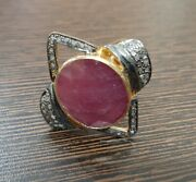 Sterling Silver Rose Cut Polki Ruby Diamond Ring Victorian Antique Style Jewelry