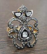 925 Sterling Silver Rose Cut Diamond Women Ring Antique Victorian Look Jewelry