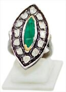 925 Sterling Silver Polki Antique Look Rose Cut Diamond Emerald Ring Jewelry