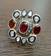 925 Silver Rose Cut Ruby Diamond Ring Antique Victorian Vintage Style Jewelry