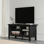 Farmhouse Wood Tv Stands 55 Inch Flat Screen Storage Shelves Black Console