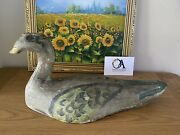 19th Century Hunted Over Hand Painted Decoy Duck Possibly French