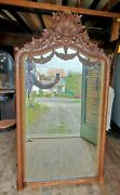 Amazing Large Victorian Rococo Carved Walnut Beveled Glass Hall Mirror