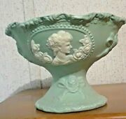 Jadeite Color Jasperware Stem Footed Bowl With Cameo. Clay Pottery Porcelain