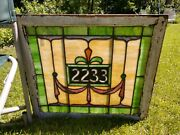 Antique Victorian Art Nouveau Leaded Stain Glass Window W/ Jewels Number 2233