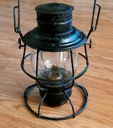 Rock Island Lines Rr Lantern With Tall Embossed Glass Globe Adams And Westlake