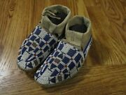 Early Pre Reservation Lakota Sioux Beaded Buffalo Hide Moccasins