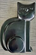 Abstract Harris Pottery Seated Black Cat Statue Mcm Large 13 Sculpture 1950s