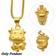 2021 Chinese Zodiac Ox Happy New Year Gold Cow Lucky Pendant Jewelry Gifts New