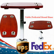 Aluminum Oak Table Pedestal Stand+ Oak Table Top With 4 Cup Holders For Rv Boat