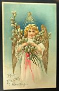 Gorgeous Antique Easter Postcard Angel Star Gold Wings B.w. Printed Germany Vtg