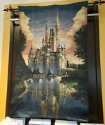 Disney Parks 50th Anniversary Tapestry Wall Hanging Cinderella Castle Mccullough