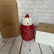 New Ceramic Merry Catmas Treat Jar Rae Dunn Cookie Christmas Cat Container 2021