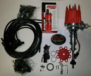 Ford Y Block Ready To Run Distributor, Msd Red Coil And Black 90 Plug Wires