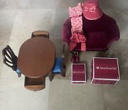 American Girl Furniture Lot Clothes Caroline Table/chairs And Velvet Couch
