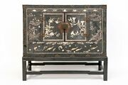 Antique 19th Century Chinese Black Lacquer Chinoiserie Chest