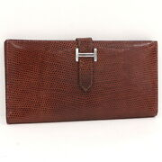 Hermes Two-folded Wallet Bean Classic Lisard Book Leather Brown □ H Engraved