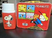 Vintage 1965 Peanuts Red Metal Lunchbox Charlie Brown W/ Snoopy Thermos Schulz
