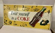 Vintage Coca Cola Treat Yourself To A Coke Bottle Tin Over Cardboard Sign Toc