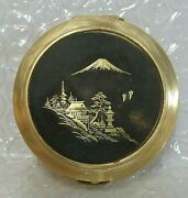 Antique Japanese Brass And Niello Pocket Or Purse Ashtray With Mt Fuji And Temple