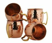 Set Of 4 Handmade Pure Copper Mugs Barrel Style Hammered Moscow Mule Mugs Copper