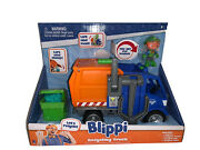 Blippi 3 Action Figure And Recycling Trash Truck Sound Vehicle Kids Toy Car