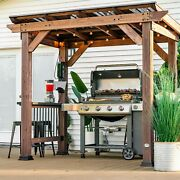 Cedar Wood Grill Station Gazebo 7'x4' Pergola With 2 Countertops And Power Outlets