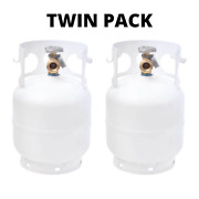 Twin Pack Empty Propane Cylinder Tank Refillable W/ Opd Valve Built-in Gauge 5lb