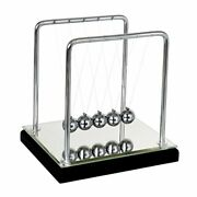 Newtons Cradle Balance Balls With Mirror Wooden Base Fun Science Physics Lear...