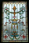 Great Victorian Stained Glass Jeweled Window 29 X 44