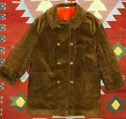 Vintage 70s Sears Corduroy Coat Pile Lined Brown Womenand039s Xl Made In Usa Euc
