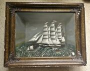 Vintage 1890-1900 Sailing Ship Diorama Old Antique Shadow Box Nice Look And Read