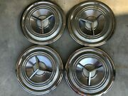 1959 Oldsmobile Deluxe Spinner Hubcaps Nice Set Of Four 14 Caps