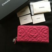 Very Rare  Long Wallet Camellia Pattern Pink Color Unused Very Cute