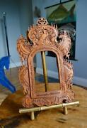 Antique Carved Wooden Picture Frame 6.5x4 Rebate Arts And Crafts Oriental Indian