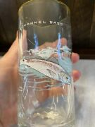 Vintage Ned Smith Signed Freshwater Fish Highball Glass Gold Rimmed Channel Bass