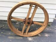 Antique Wooden Wheel From Wisconsin Grain Mill Architectural  1